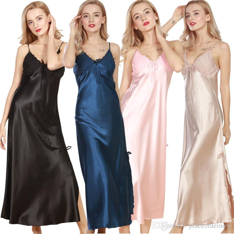f45b9b2470 2019 Women Summer Night Dress Nightgown Silk Satin Nightdress Night Gown  Plus Size Lace Nightwear Sexy Lingerie From Placeordernow