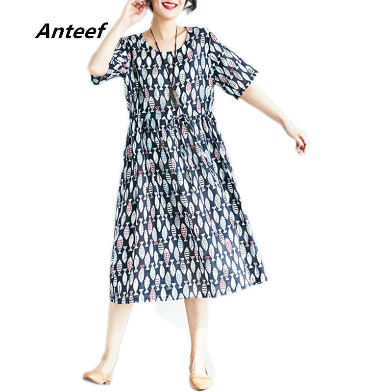 a3b99aa5486a Wholesale Cotton Vintage Print Clothes Plus Size Women Casual Loose Summer  Dress Vestidos Femininos 2018 Dresses Dress Summer Dress Online with   51.63 Piece ...