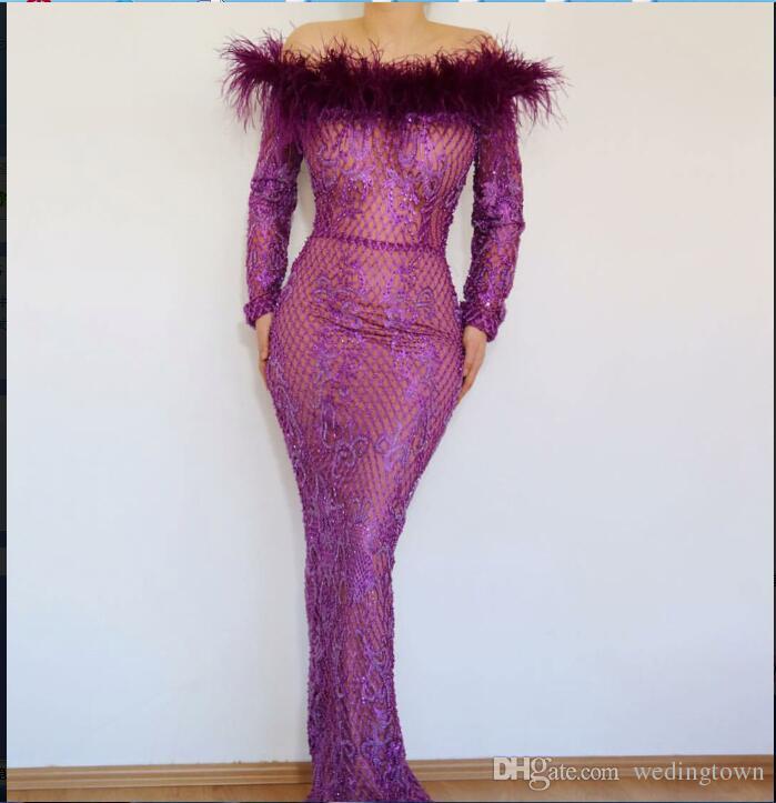 Evening dress Yousef aljasmi Long sleeve Off-Shoulder Beadeed Crystal Feather Mermaid Long dress Major beading kim kardashian 00547