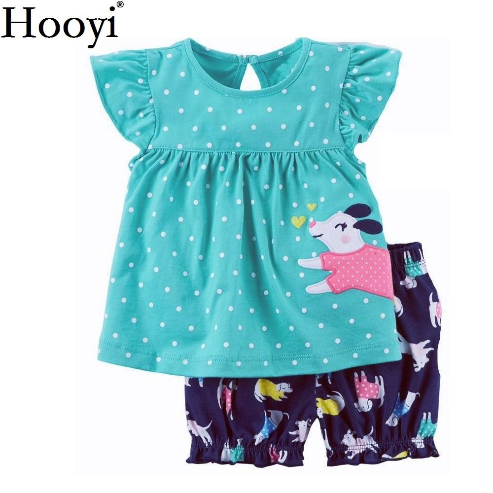 2a36876f Hooyi Dot Baby Girl Clothing Suit Dog 2-Pieces Sets Children Jumpers Dress  Panties Girl's Clothes 6 9 12 18 24 Month Babywear