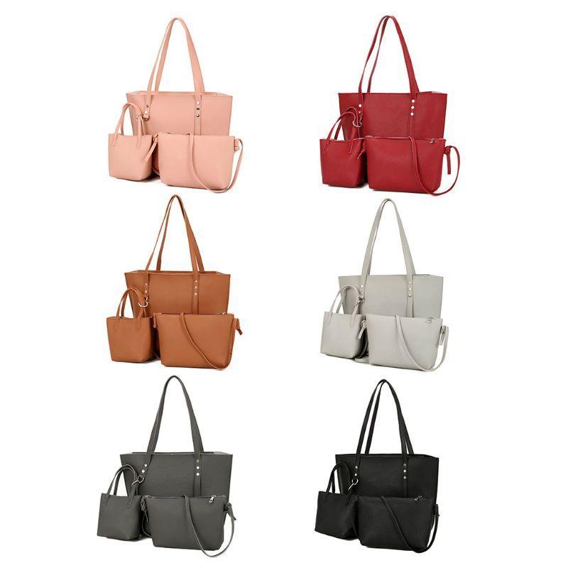 847fe33deb67 3Pcs PU Leather Women Handbag Shoulder Bag Tote Purse Messenger Satchel  Clutch