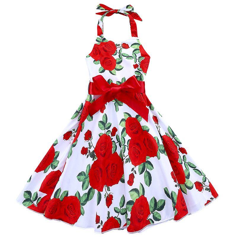 1-7T Girls red flower halterneck dress children Halt Top floral long dress summer princess ribbon bowknot skirt