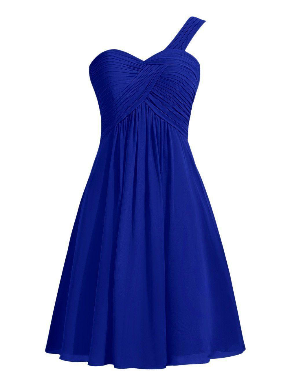 One Shooulder Short Bridesmaid Dress A Line Chiffon Cheap Mint Cocktail Dress 2018 Wholesale Women Wedding Party Gown
