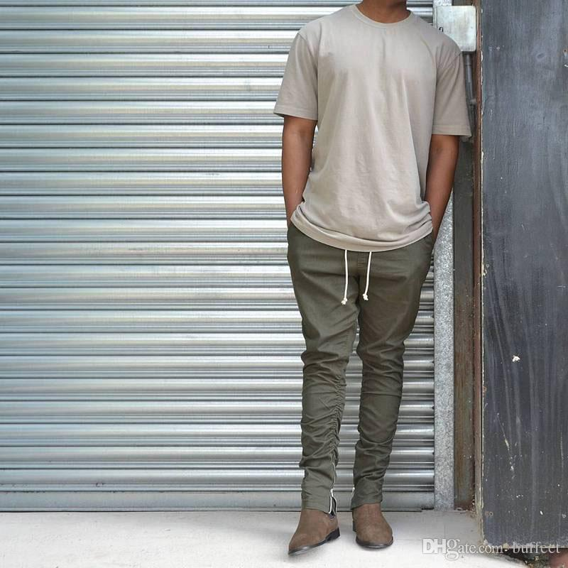 Wholesale-Khaki/Black/Green Korean Hip Hop Fashion Pants With Zippers Factory Connection Mens Urban Clothing Joggers Fear of god Men Pants