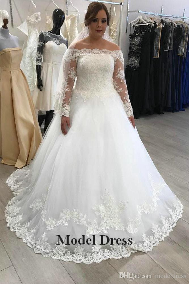 A Line Illusion Long Sleeve Wedding Dresses 2018 Capped Off the Shoulder Floor Length Appliques Country Bridal Gowns abiti da sposa