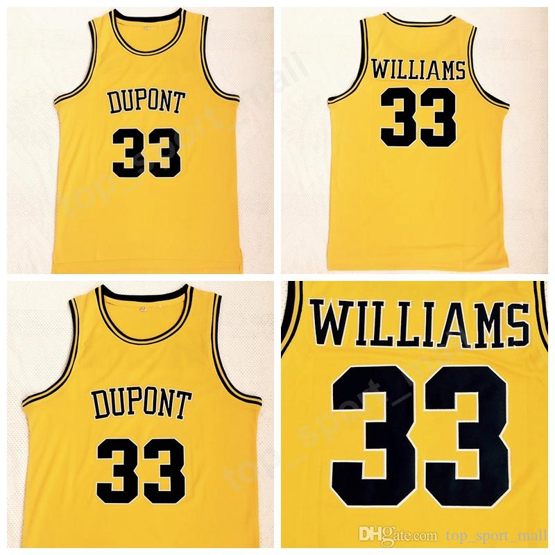 new product ac63d d2542 2018 Men Jason Williams Jersey 33 High School Dupont Basketball Jerseys All  Stitched Team Color Yellow Sport Breathable Size S-XXL Sale