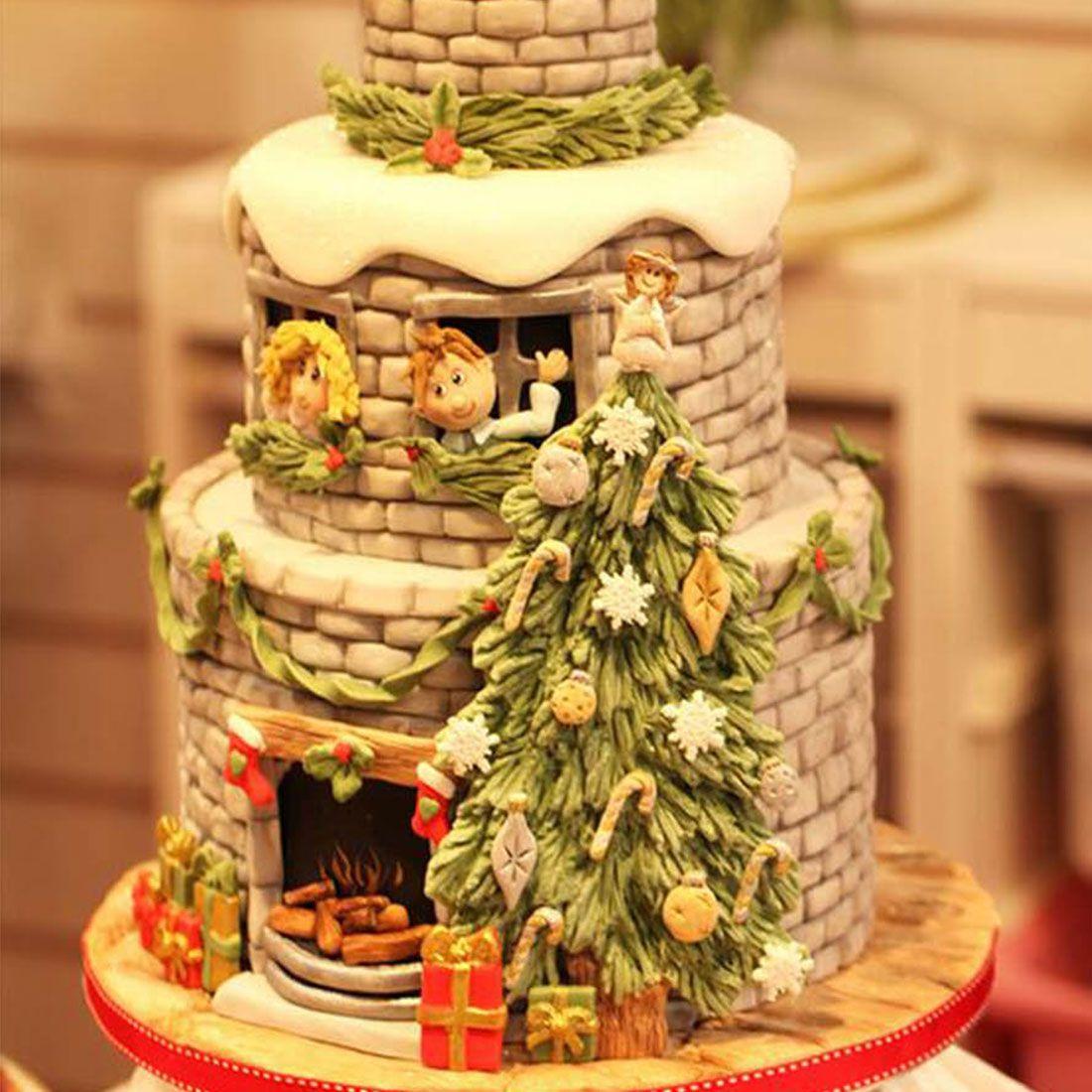 2018 New Christmas Tree Snowflake Bow Silicone Mold Cake Border ...