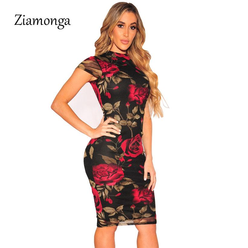 special promotion 50% off newest selection Ziamonga Plus Size Bandage Dress 2018 Sexy Party Dress Black Floral Print  Knee Length Pencil Midi Sexy Bodycon Women