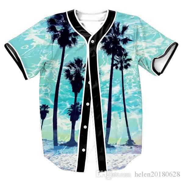 65cfdd9b5c91 Fashion 3D Print Hawaii Beach Tree Blue Baseball T Shirt Summer ...