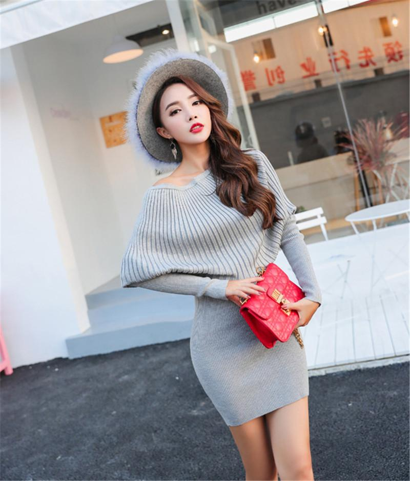 Autumn Knitted Cotton Solid Sheath Slash Neck Women Sweater Dresses Hip Packaged Sexy Winter Soft Pullover Dress Vestidos Femme