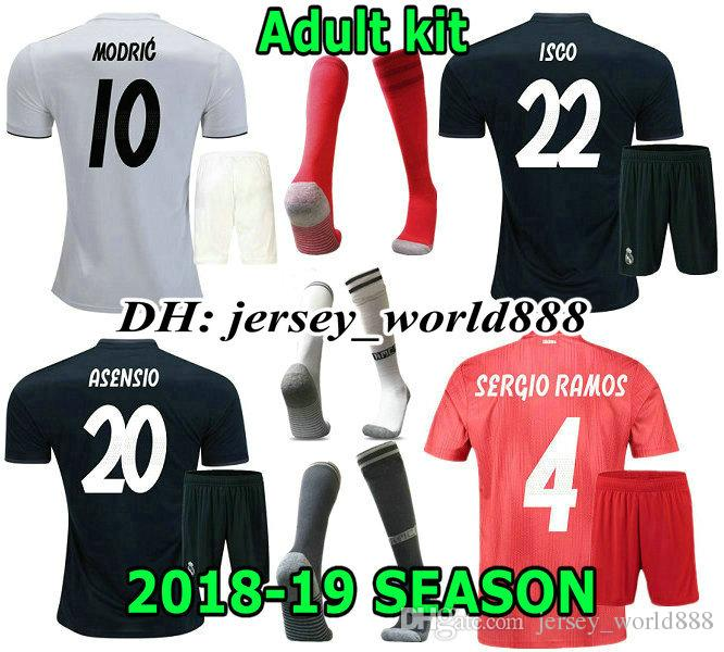 ff964d3c4 2019 ASENSIO 18 19 Real Madrid Home Soccer Jersey Adult Kit MARCELO RONALDO  BENZEMA BALE KROOS SERGIO RAMOS MODRIC ISCO NAVAS Away Football Shirt From  ...
