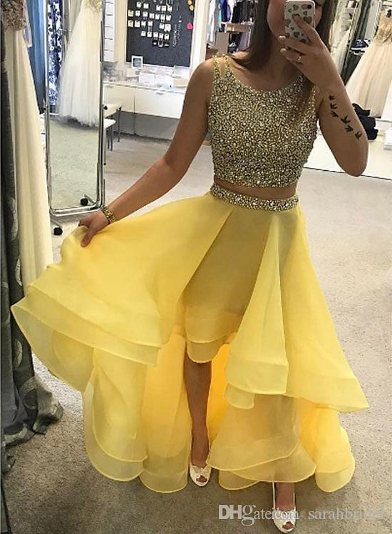 2018 sarahbridal New Design yellow two pieces hi-ho short mini scoop Homecoming Dress Popular Bridesmaid evening dress party dress Prom gown