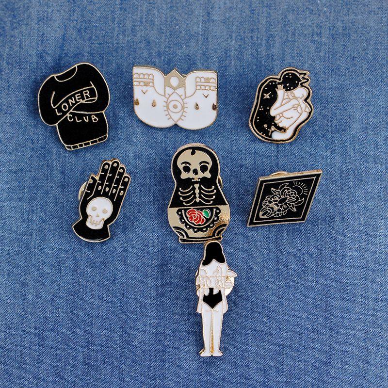 Vintage Jewelry Evil Hard Enamel Pins Punk Lapel Pin Skeleton Skull Palm  Totem Introvert Loner Brooch Button Clothes Bag Badges
