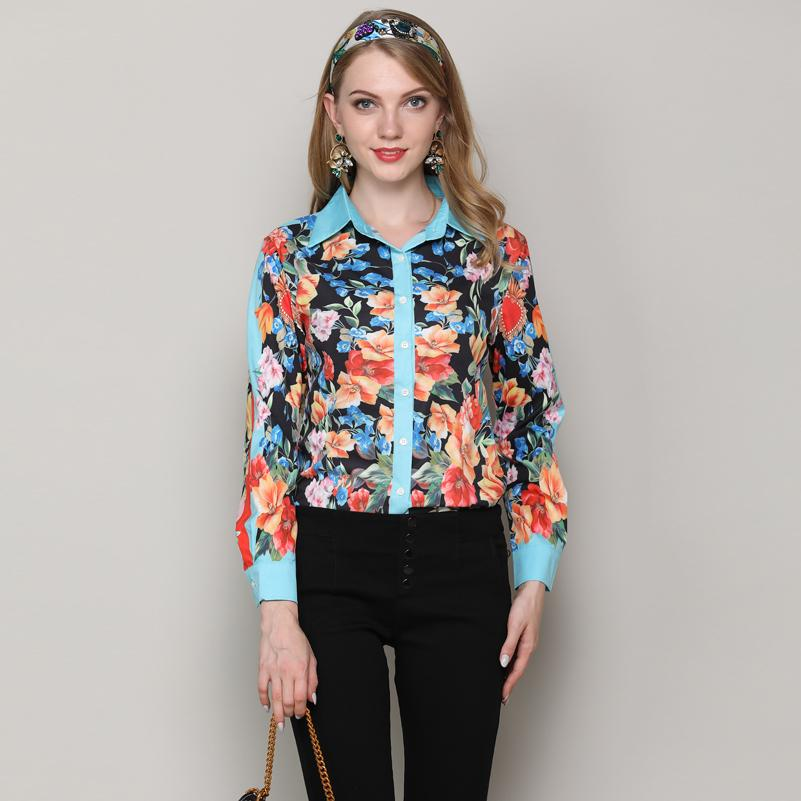 9fc90cd854d0 2019 High Quality Vintage Elegant Fashion Blouse Women'S Long Sleeve Turn  Down Collar Floral Print Shirts Runway Designs Casual Top From Yakima, ...