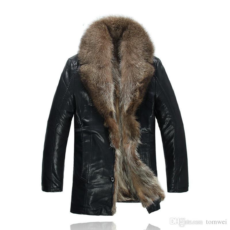 Real Raccoon Fur Coats Jaquetões Windbreaker Neve Couro Jakcets Outwear Overcoat espessura quente de alta qualidade Plus Size DHL