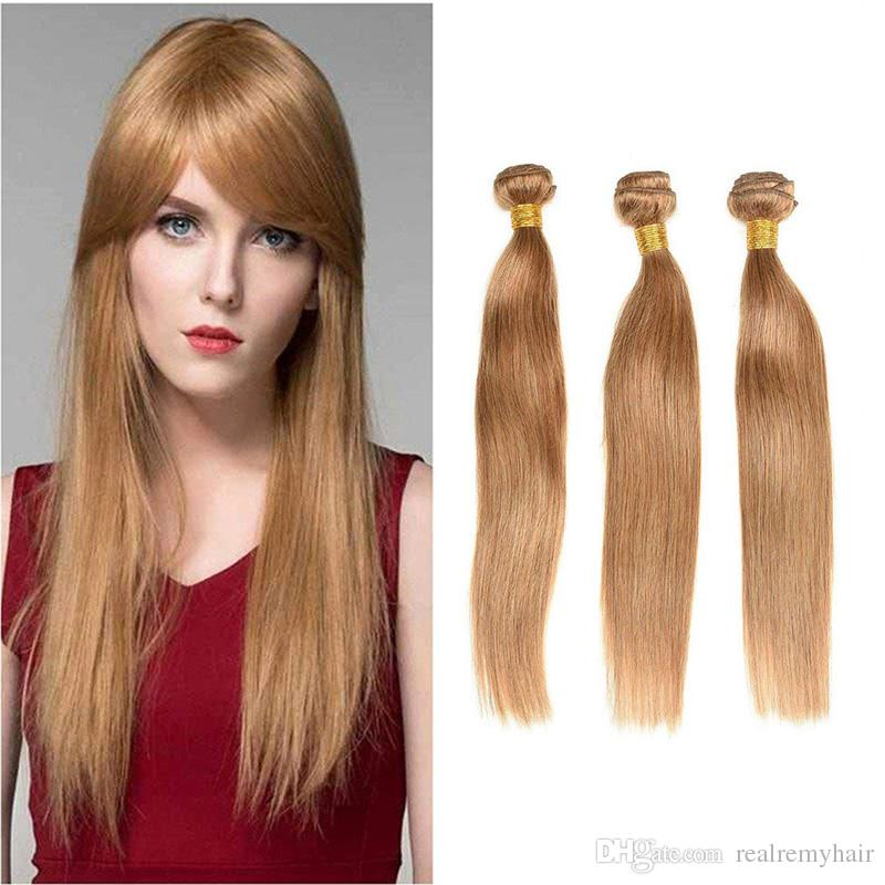 Peruvian Blonde Straight Hair Extensions Honey Blonde Human Hair