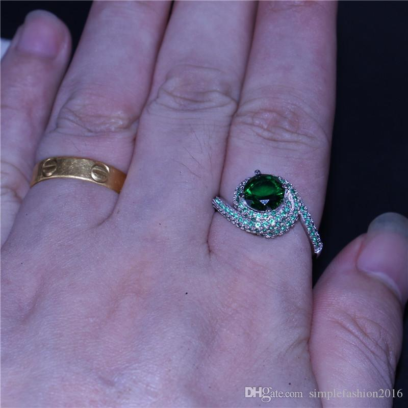 2017 Croix fait à la main anneau 925 Sterling argent 5A vert Cz Pierre Engagement bande anneaux pour les femmes hommes bijoux
