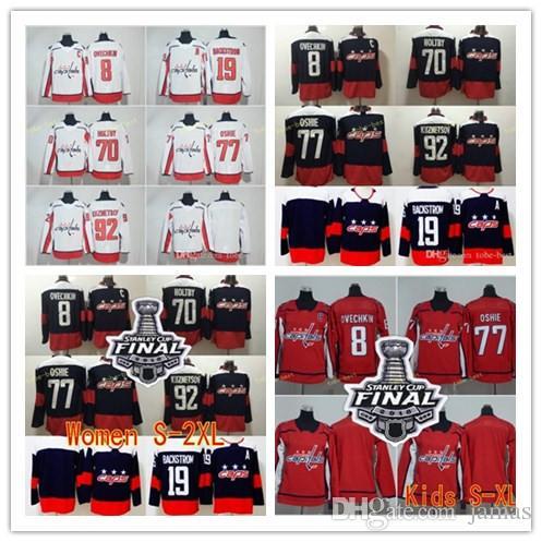 2019 2018 Stanley Cup Finals Washington Capitals 8 Alex Ovechkin 19 Nicklas  Backstrom Jerseys 77 TJ Oshie 92 Evgeny Kuznetsov 70 Braden Holtby From  Jamas adf46704dd56a