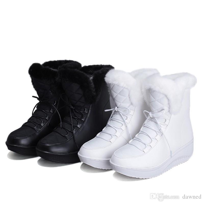 winter boots for women to keep warm ankle boots in winter PU down shoes on a platform monochrome Womens shoes. WH68