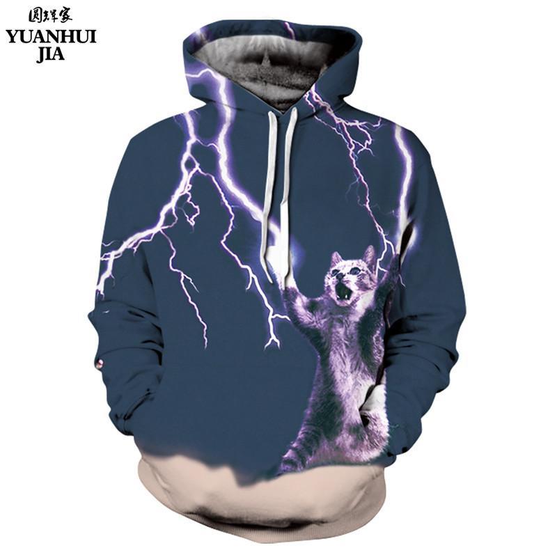 db2bf5a3efba 2019 Fashion Men Women 3d Sweatshirt Digital Printing Lightning Cat Meow  Star People Long Sleeve Hooded Hoodies Cap Hoody From Benedica