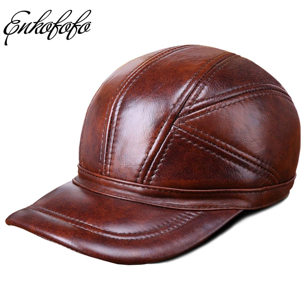 636e5d0ce73 Quality Cowhide Genuine Leather Baseball Cap Men Snapback Hats Adjustable  Fit Closed Full Caps Gorras Male Trucker Hat Casquette Custom Trucker Hats  Compton ...