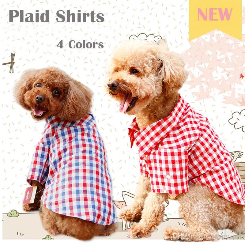 2da9c51cf387 2019 Dog Apparel Plaid Shirt Pet Shirts XS Puppy Blouses Medium Dog  Costumes Wholesale Pets Clothes Supplies Poodle Clothing Sale XL From  Happy_pet, ...