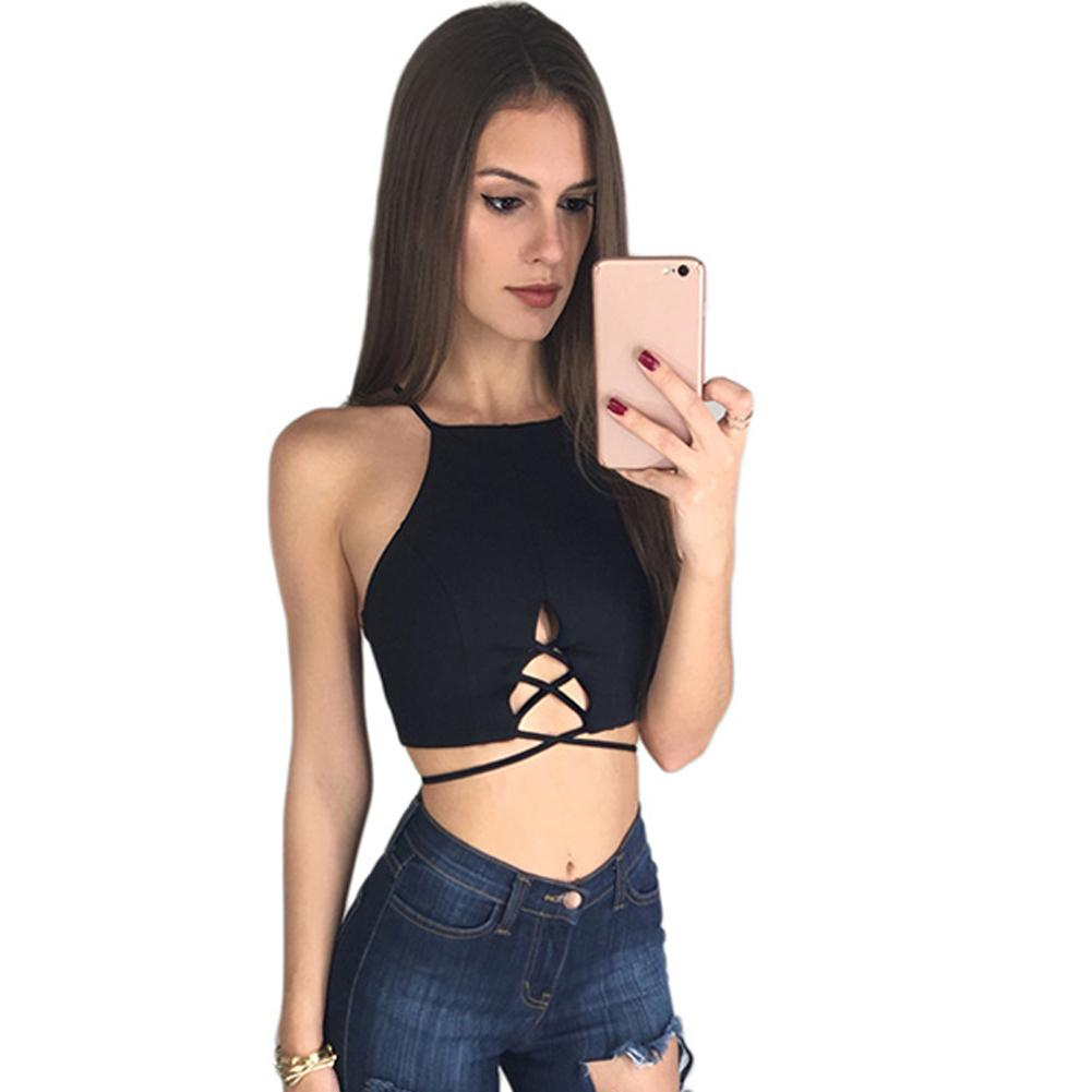 d67f409c658f48 2019 2018 New Sexy Women Strappy Crop Tank Top O Neck Sleeveless Backless  Cross Straps Short Tee Camis Red/Black Summer Cropped Top From  Bestshirt007, ...