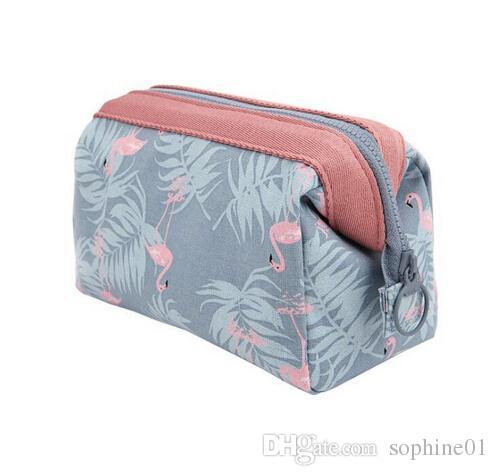 6908c699dee2 New Arrive 2pcs/lot Flamingo Cosmetic Bag Women Necessaire Make Up Bag  Travel Waterproof Portable Makeup Bag Toiletry Kits