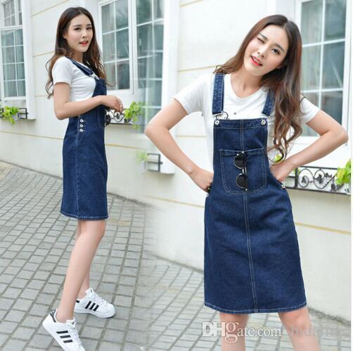 promo code d4850 b9534 Salopette da donna coreane da donna Gonne Donna Slim Midi Gonna jeans con  cinturino in cotone denim Jupe Donna Bretelle blu gonne