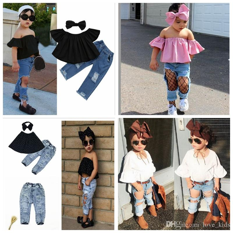 64f7515ff9aa 5 styles Cute Baby Girls New Fashion Children Girls Clothes Off shoulder  Crop Tops White+Hole Denim Pant Jean+Headband 3pcs/set