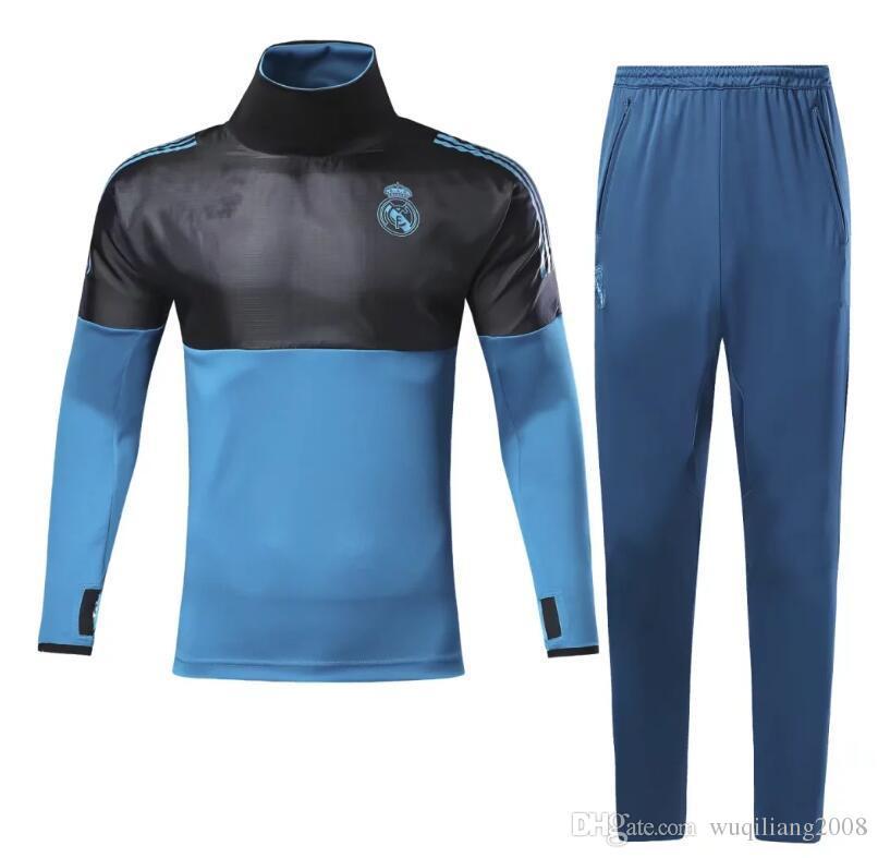 Wholesale17 18 Real Madrid Tracksuit Blue Champions League Sweater Suit Kit  2017 2018 Real Madrid Trainning Sweater Jacket RONALDO Set Real Madrid ... 9177ace3ecffb