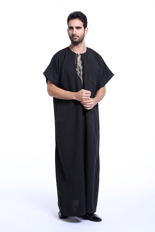 Männer muslimische islamische Kleidung Arabien Stickerei Abaya plus Größe Dubai Männer Kaftan kurzen Ärmeln Jubba Kleidung