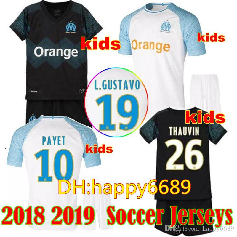 2019 2018 19 GOMIS Maillot Om De Foot 2019 Enfants Equipe Olympique De  Marseille Children Kid Soccer Jersey L.GUSTAVO Youth Boys Football Kits  From ... 0bc2bb637