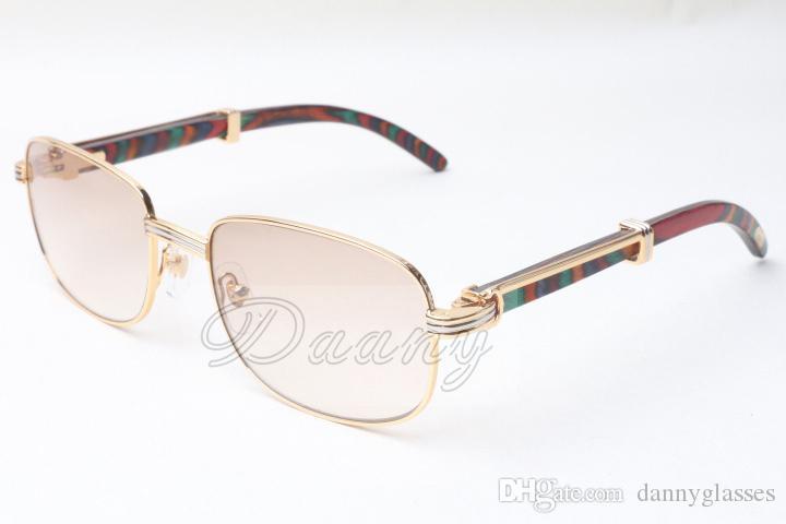 Praça direta New Style Sunglasses madeira, 7381148 Padrão Natural Pavão Madeira Óculos Tamanho: 56-21-135mm, óculos de sol premium de luxo,
