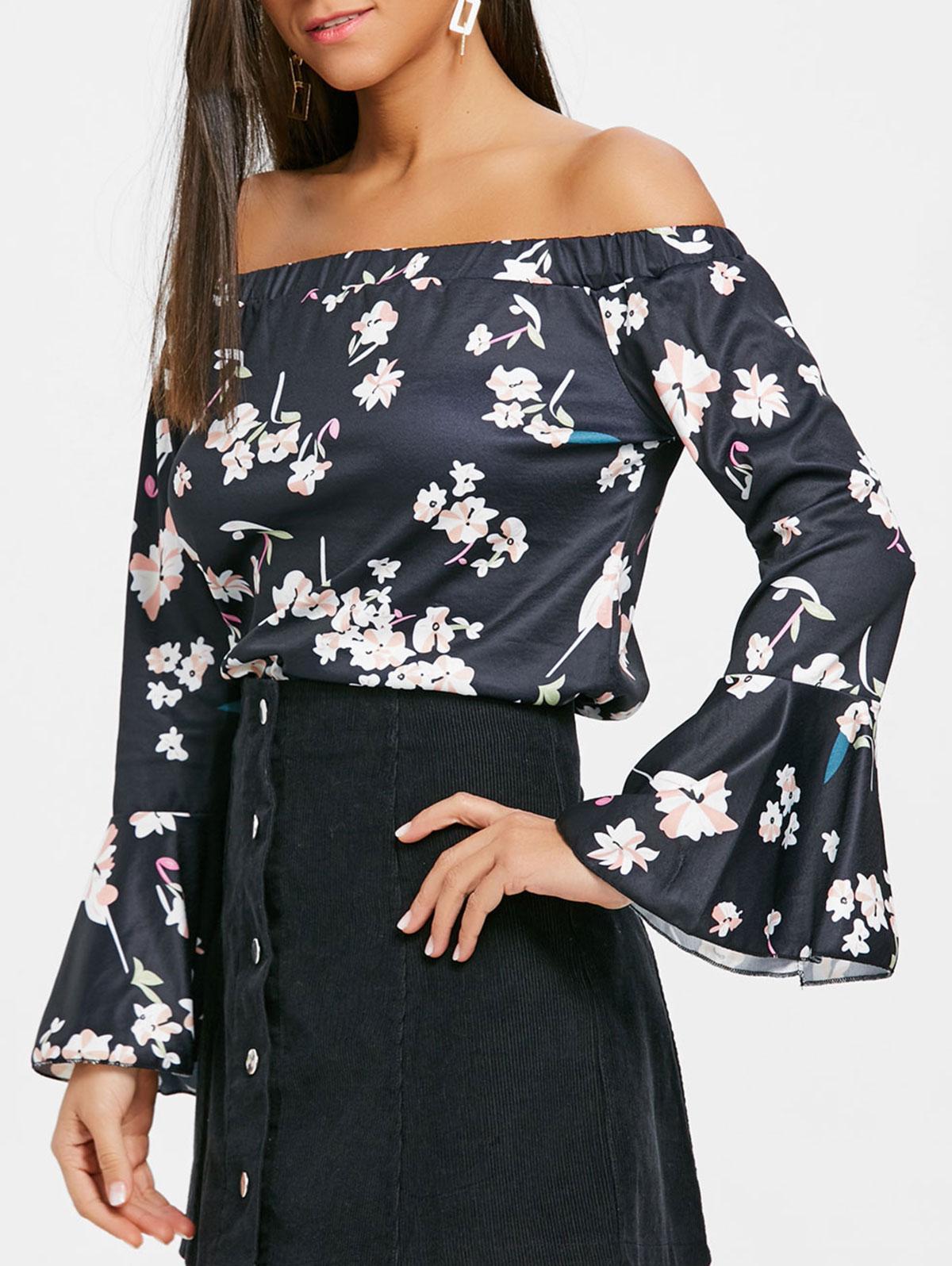 537d6678486d ZAFUL Women Floral Off Shoulder Blouse Bell Sleeve Slash Neck Flower ...