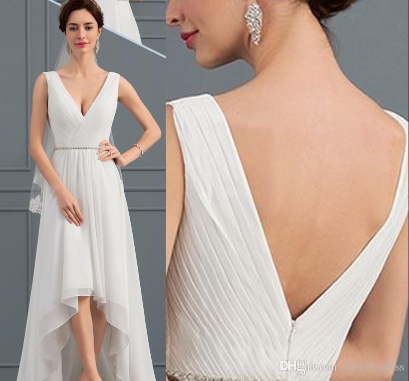 dd801680 Discount Boho High Low 2019 Wedding Dress Cheap V Neck Chiffon Crystal Sash  Ruched Sweep Train Short Front Long Back Wedding Bridal Gowns Wedding  Designer ...