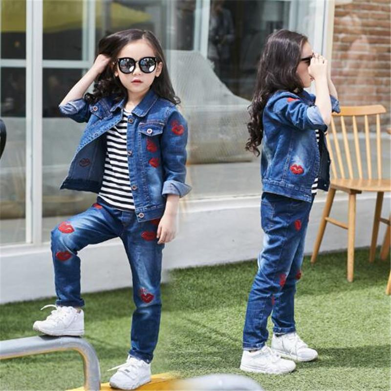 556f85d19fbfe Acheter 2018 Automne Printemps École Fille De Denim Vêtements Ensemble Jean  Veste + Jeans Pantalon Jeans Enfants Filles Denim Costume Enfants Vêtements  ...