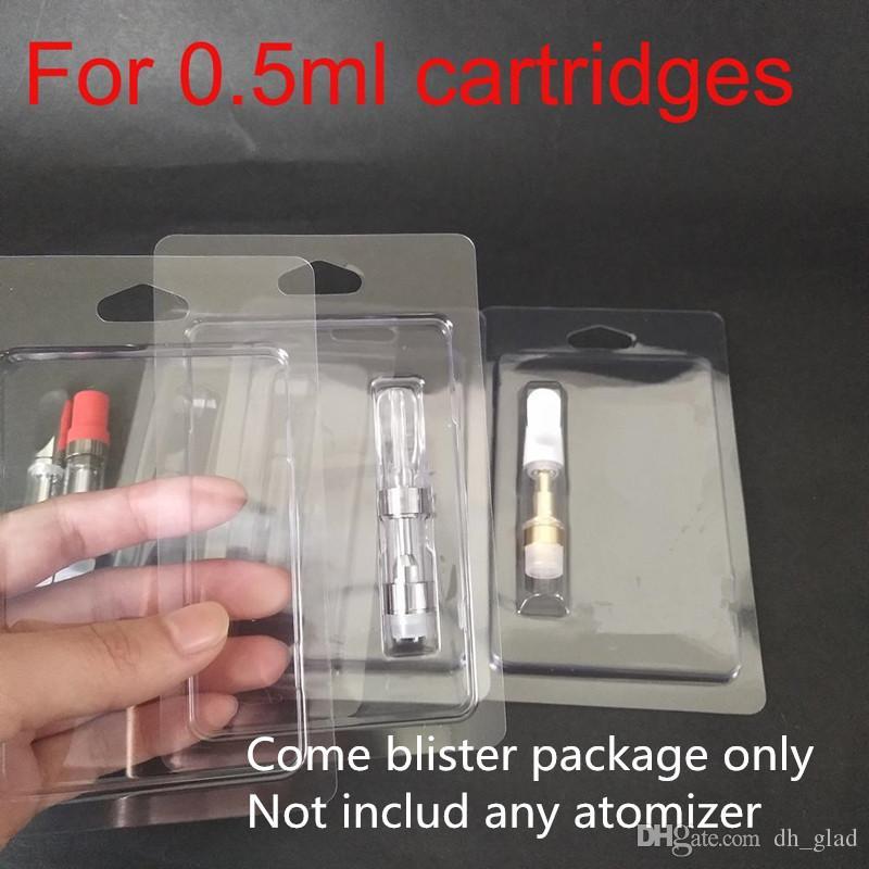 Ясно розничная раскладушка блистерная упаковка повесить отверстие для 0.5 мл Vape картридж пакет G2 испаритель 510 резьба толщиной масло стекло атомайзер