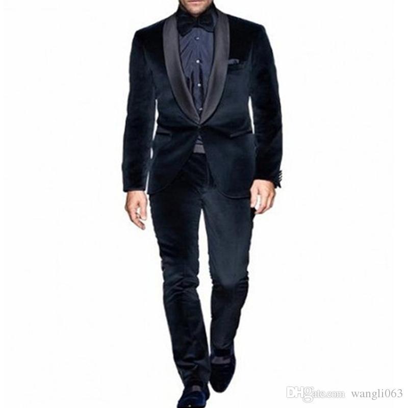 b615f5259048 Two Piece Navy Blue Velvet Men Suits For Wedding Wear Black Shawl Lapel  Trim Fit Evening Prom Groom Tuxedos Jacket Pants Black Suit Jackets Black  Tuxedo ...