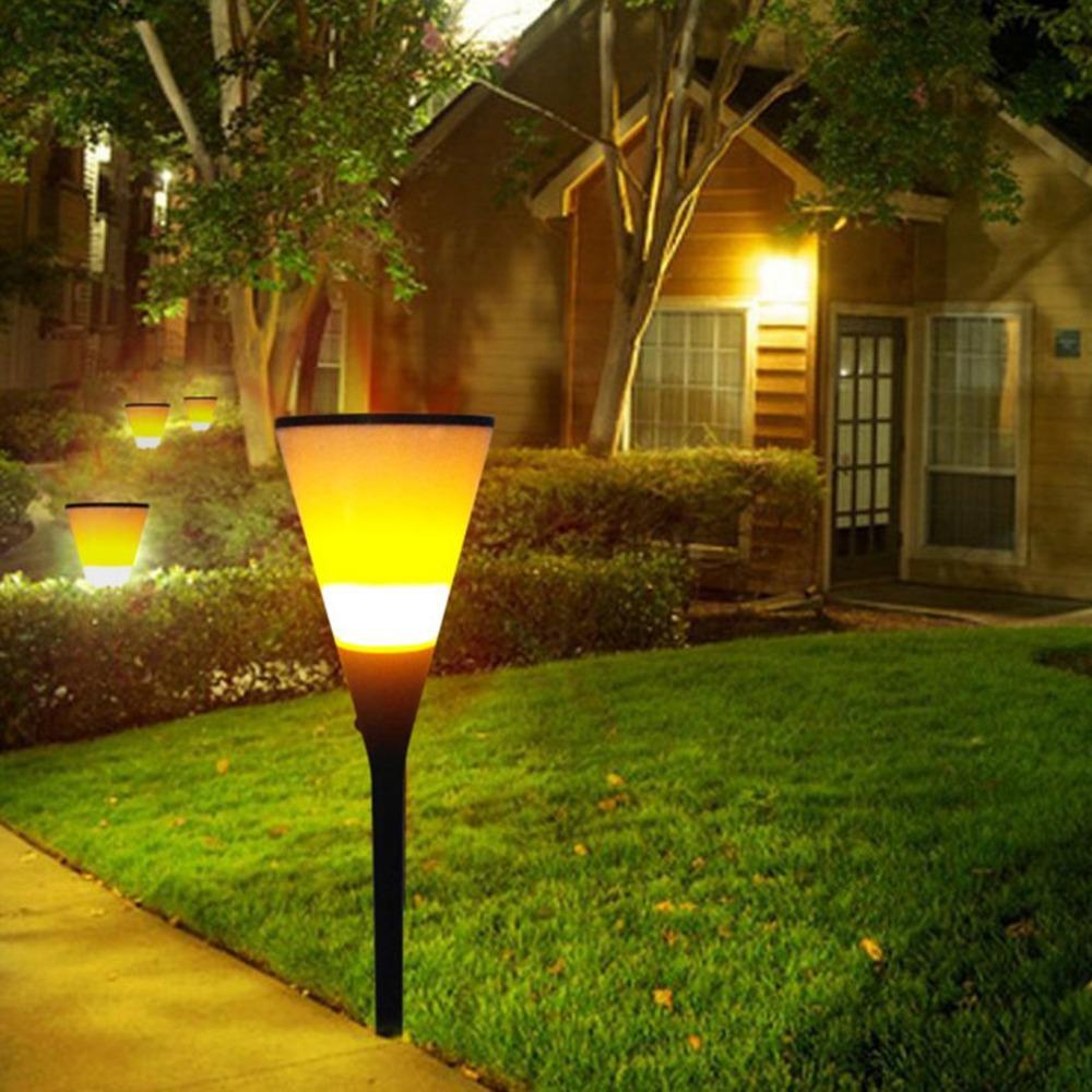 2018 Solar Flickering Flame Torch Light Waterproof Outdoor Pathways ...