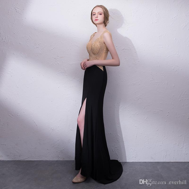 Luxury Beaded Sexy Girls Prom Dresses 2018 Mermaid Side Split Long Evening Formal Gowns Sheer Occasion Dresses for Women Party Sleeveless