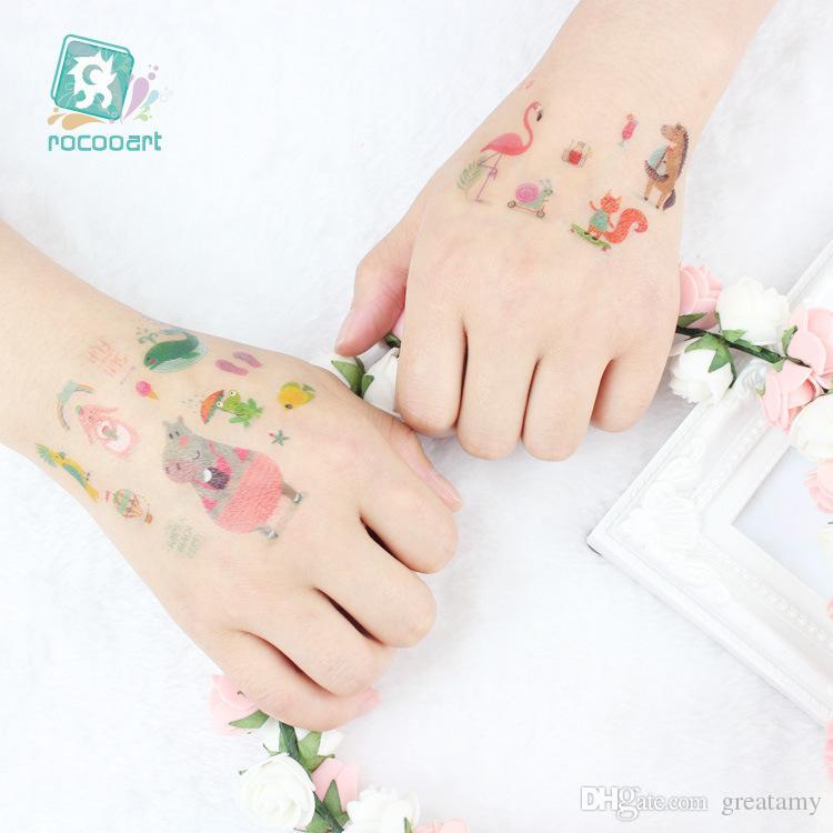 Étanche autocollants de tatouage temporaire faux licorne rose conception de bande dessinée enfants art de corps enfant maquillage outils