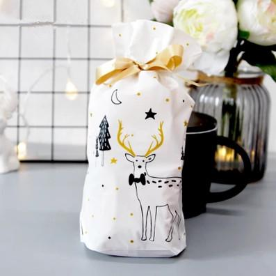 Golden alce davidianus Christmas ribbon bag new year candy biscuit packaging decorazione borse borse Festa di Natale favori