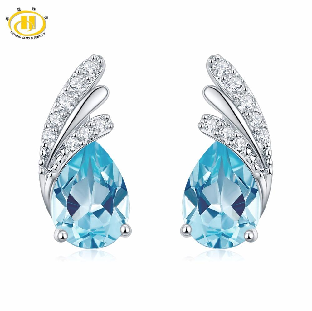 63ed6ee36 2019 Hutang Stone Jewelry Stud Earrings Natural Gemstone Sky Blue Topaz  Solid 925 Sterling Silver Fine Fashion Jewelry For Women Gift From  Lbdfashion, ...
