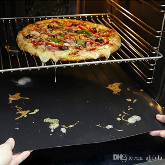비 스틱 매트 바베큐 굽고 라이너 BBQ 그릴 매트 휴대용 붙지 않는 재사용 만들기 굽고 쉬운 33 * 40CM 0.2mm의 검은 색 오븐 핫 플레이트 매트