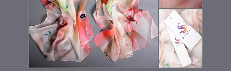 [BYSIFA] foulard en soie mousseline châle dames marque de mode bleu lotus longues écharpes wraps 180 * 68 cm été femmes plage cap-up cap
