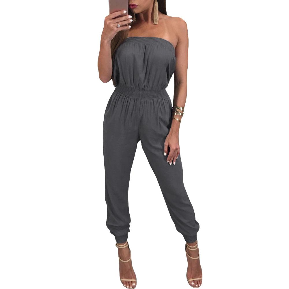 960efe983ca Women Off Shoulder Jumpsuit Rompers Backless Casual Long Trousers ...