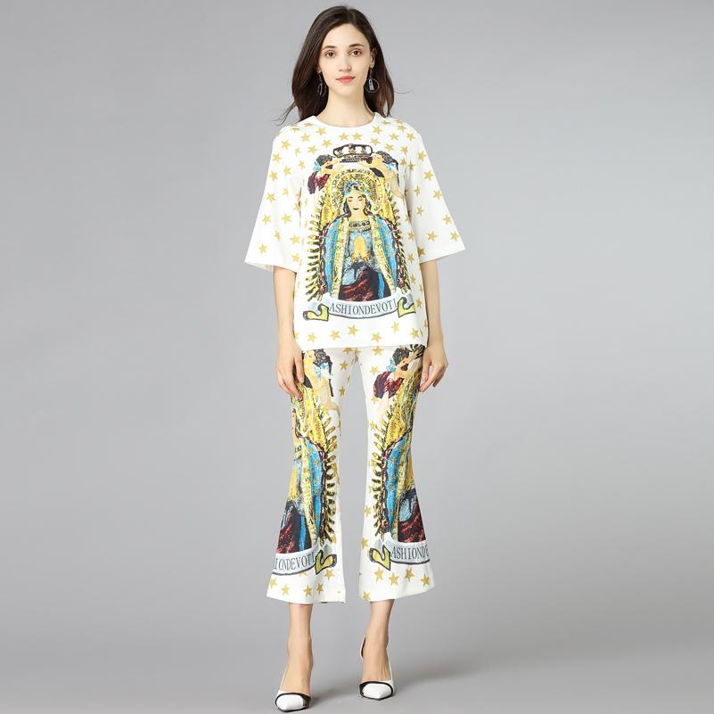 2670c738088a9 High Quality Fashion Designer Runway Suits 2 Two-Piece Set Women s pattern  Print Pullover Top and speaker Pants Vintage Suit Set