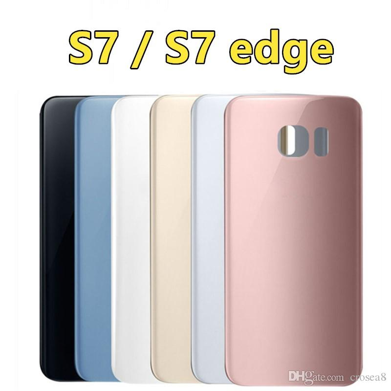 size 40 e282e f74ce OEM original For Samsung Galaxy S7 G930 G930F S7 Edge G935 G935F Back Glass  Battery Cover Door Housing Case Adhesive Sticker