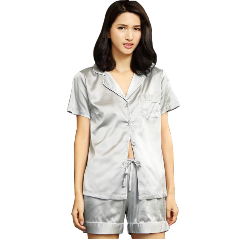 a58adb047ae8 2019 Aikoar Summer Men Women Silk Pajama Sets Spring Elegant Brief Lapel  Short Sleeve Tops And Shorts Sleep Set From Luzhenbao521